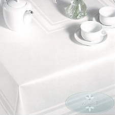 White Satin Band Tablecloth